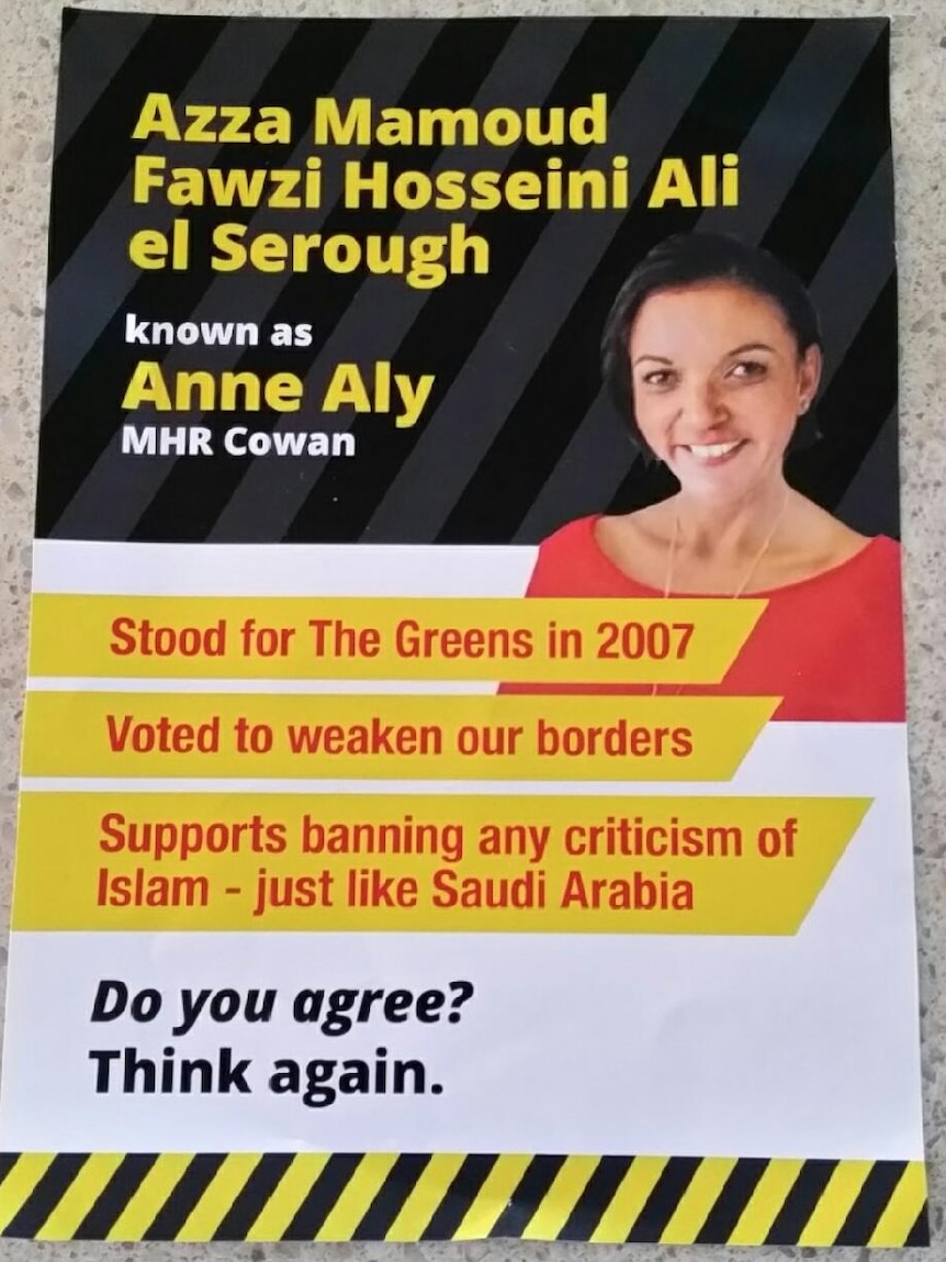 An election flyer attacking Anne Aly.