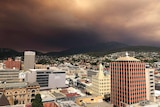 Smoke over Hobart from the Gell river fire