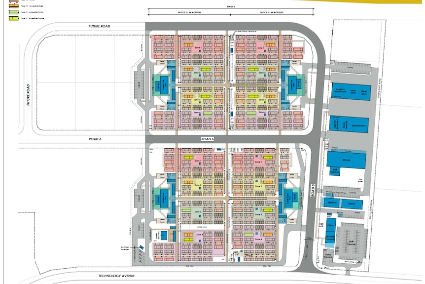 Coloured 2D plans of the future Wellcamp quarantine facility, showing rows of cabins, roads and logistics areas.