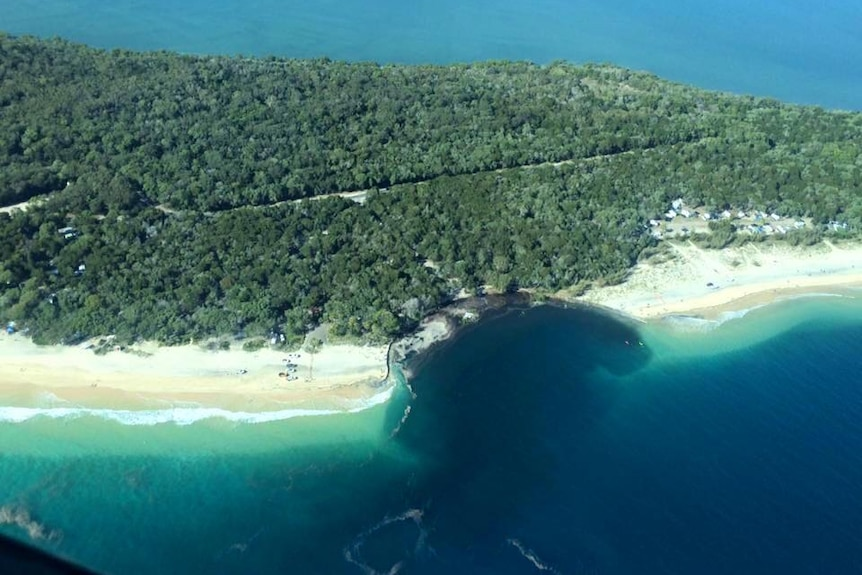 An aerial view of a major near-shore landslip at Inskip Point