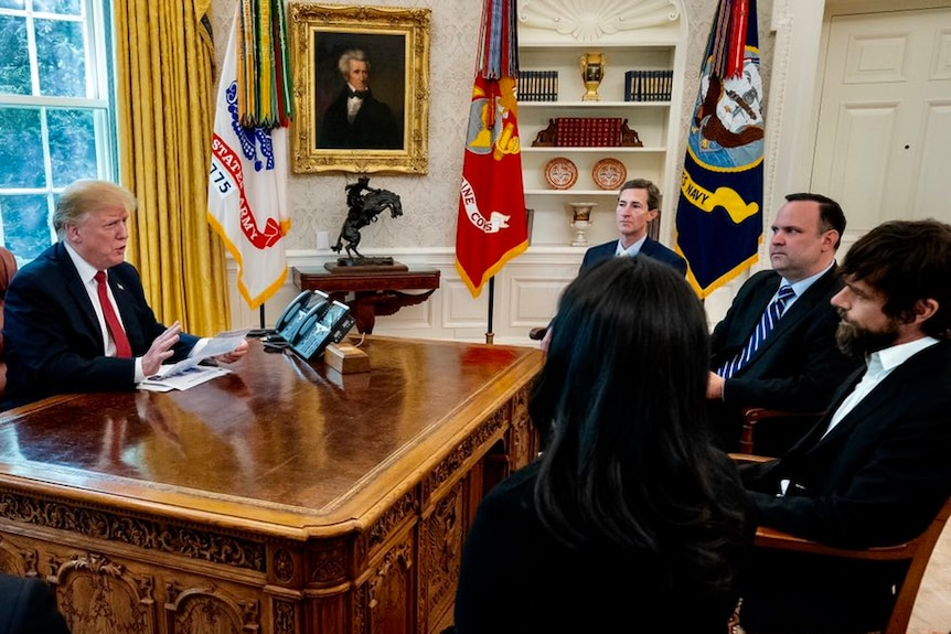 Donald Trump meets with Twitter CEO Jack Dorsey in the White House.