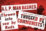 """A red coloured 1940s photo of Sydney Harbour with newspaper headlines such as """"Thrown into sea by reds"""" and """"ALP Man Bashed"""""""