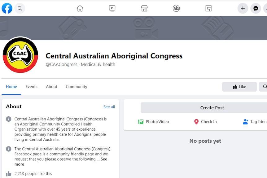 Screenshot of a Facebook page for the Central Australian Aboriginal Congress