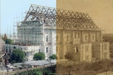 A half black and white, half colourised photograph of Elder Hall being built in Adelaide in 1899.