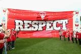 The Sydney Swans' RESPECT banner