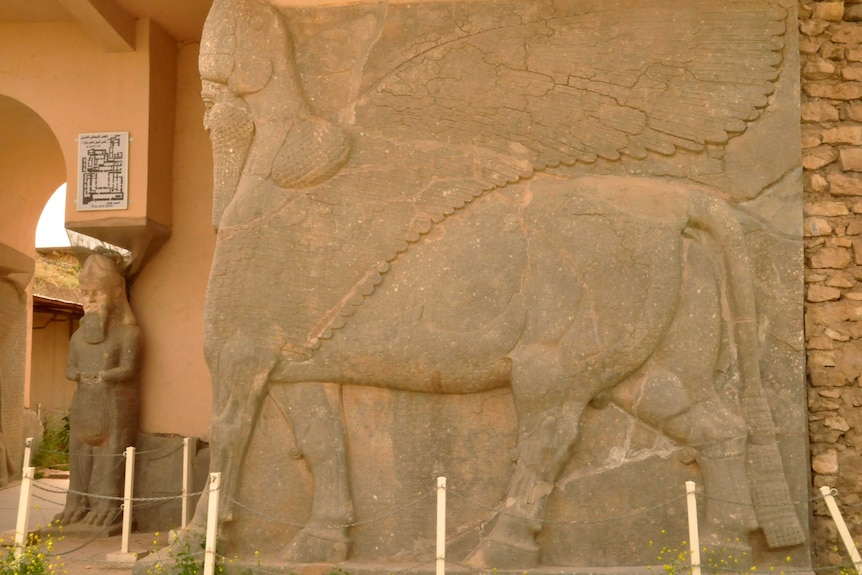 An ancient statue at the archaeological site of Nimrud