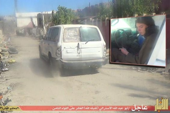Image purportedly showing Melbourne teenager Jake Bilardi at the wheel of a vehicle used in a suspected suicide bombing