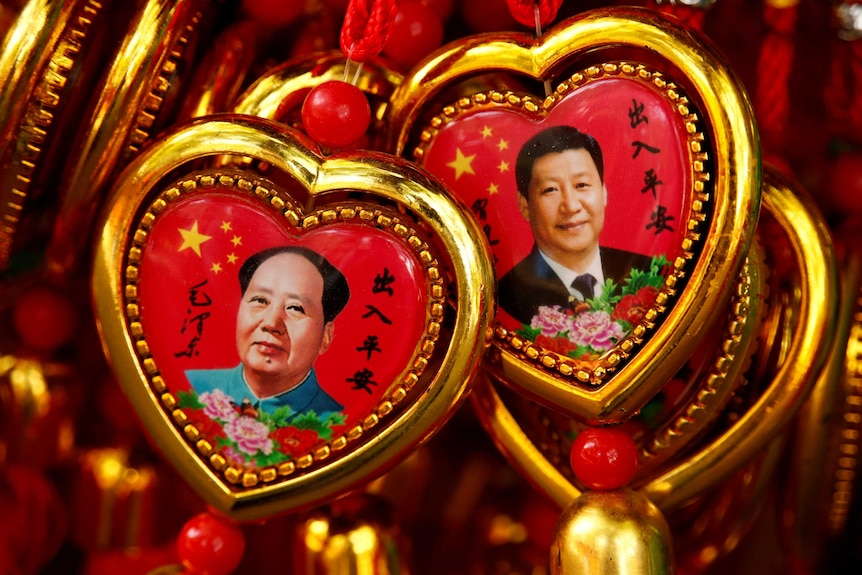 Images of Mao Zedong and Xi Jinping appear in souvenirs