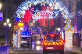 A still from a video shows emergency vehicles on the street and Christmas lights.
