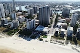 Aerial image showing highrise unit complexes in Surfers Paradise on Queensland's Gold Coast