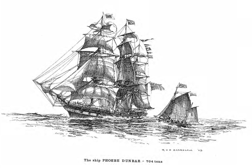 A black and white drawing of the tall ship.