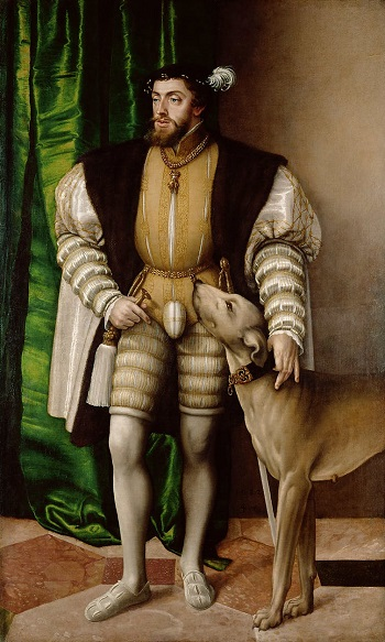 A fancy painting of a man with a prominent genital covering