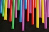 A row of plastic straws