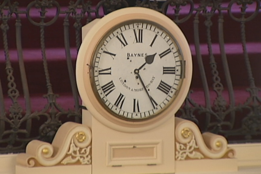 The clock that once sat on top of a convict flogging post
