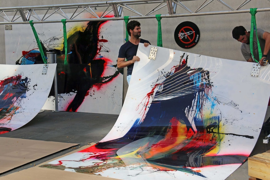 Tommy Balogh found it challenging to hang his massive contemporary artworks.