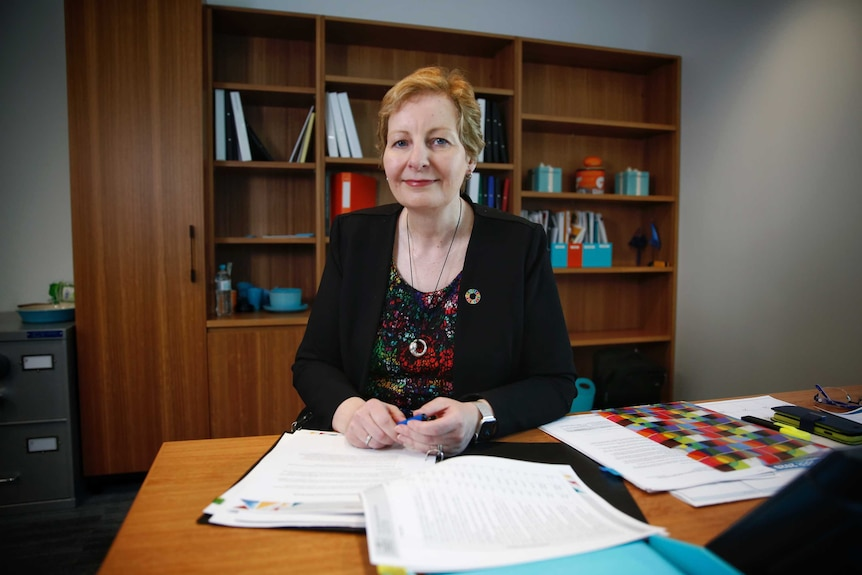 Ms Dickinson sits behind her desk in her office in front of a wooden bookcase. She's wearing a colourful blouse and black blazer
