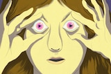 An illustration of a woman whose holding her eyes open, her irises are play buttons and she's bathed in the light of a screen