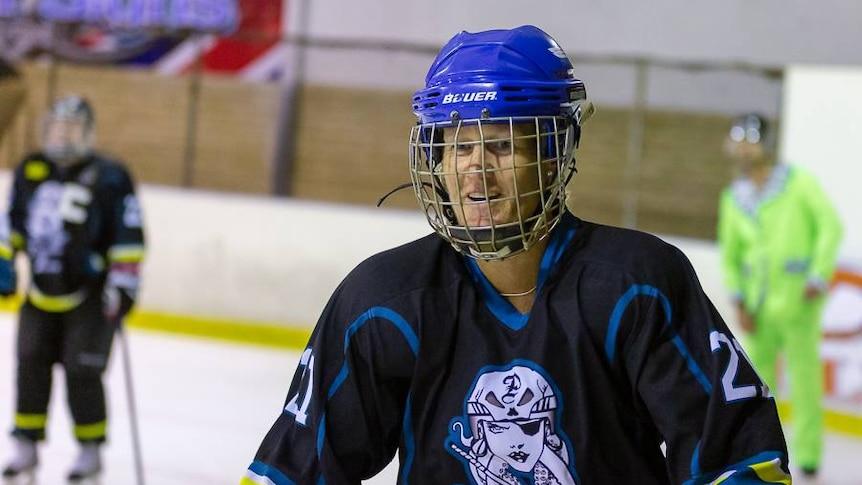 Masters ice hockey competitor