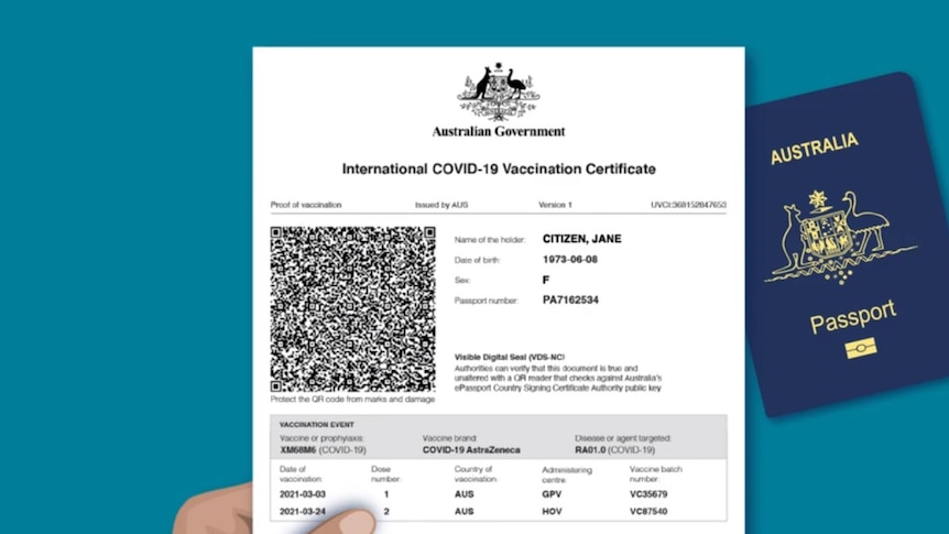 A digital rendering of the InternationalCOVID-19 Vaccination Certificate from a government video