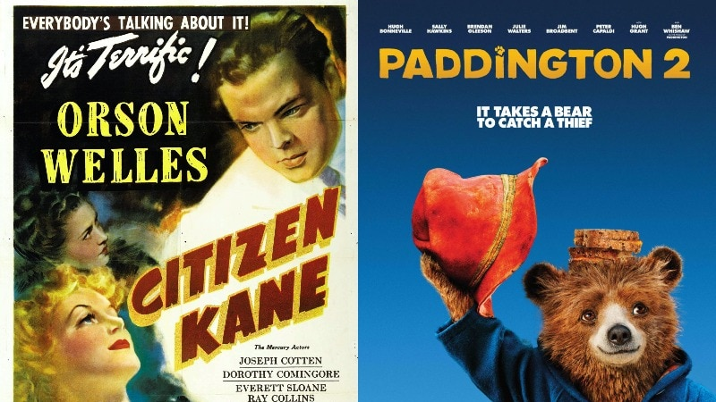 A composite image of the posters for Citizen Kane and Paddington 2.