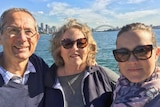 Rachel Pupazzoni and her parents on Sydney harbour