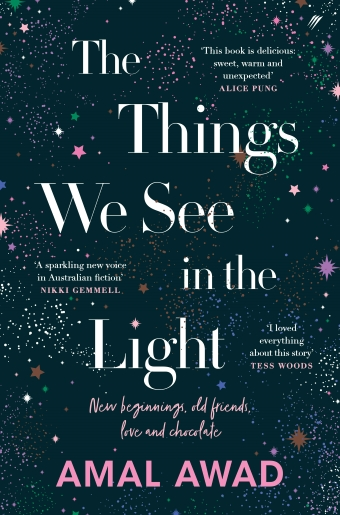 The book cover of Things We See in the Light by Amal Awad, featuring a dark backdrop and colourful stars
