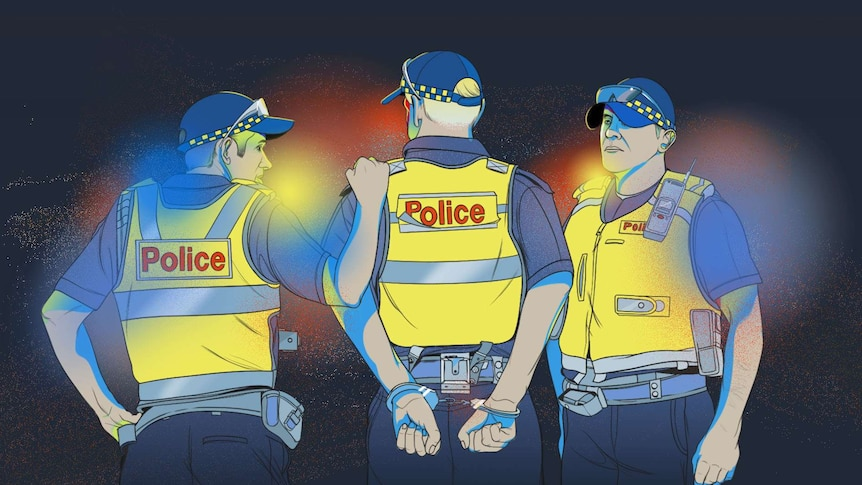 An illustration shows three police officers, one with his hands cuffed behind his back