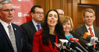 Jacinda Ardern giving a press conference.