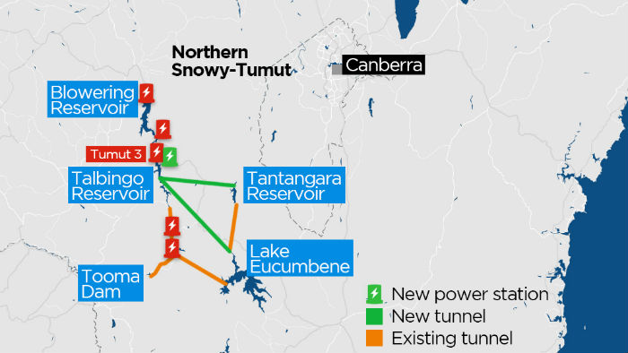 A map of planned changes to the Snowy Hydro scheme