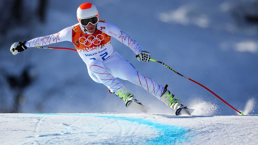 American Bode Miller skis during training for the Men's Downhill ahead of the Sochi 2014 Games.