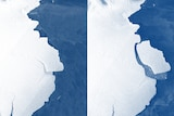 A composite image of the ice shelf, and the same ice shelf with a berg broken off