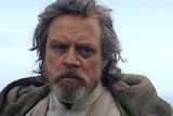 A still shot of Mark Hamill in Star Wars: The Last Jedi.