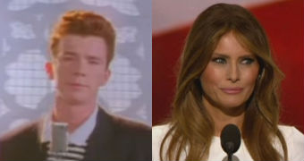 Composite image showing Rick Astley and Melania Trump