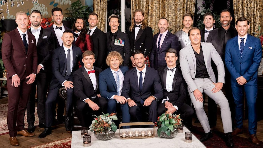 Group photo of the contestants from the 2018 season of The Bachelorette for a story about racism in online dating.