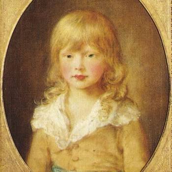 An oil painting of a young boy with long blonde hair