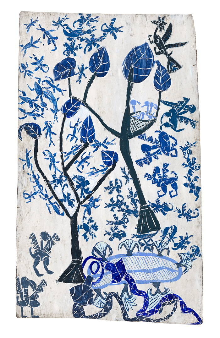 Bark painting, blue paint on a white background, showing scene with trees and animals.