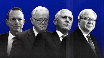 An illustration featuring Tony Abbott, Andrew Robb, Malcolm Turnbull and Kevin Rudd