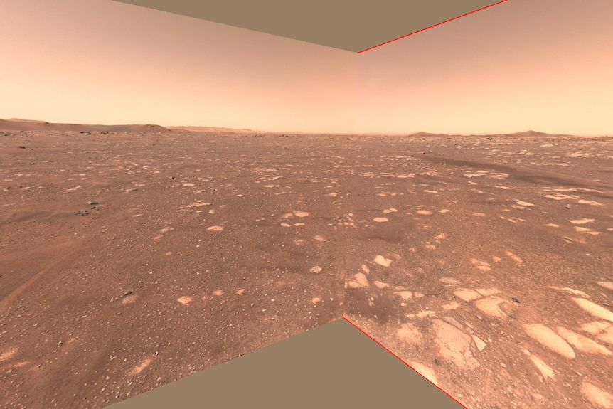 View of airfield in Jezero Crater taken from Perseverance rover