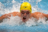 A swimmers races in the final of the men's 400m individual medley at Tokyo.