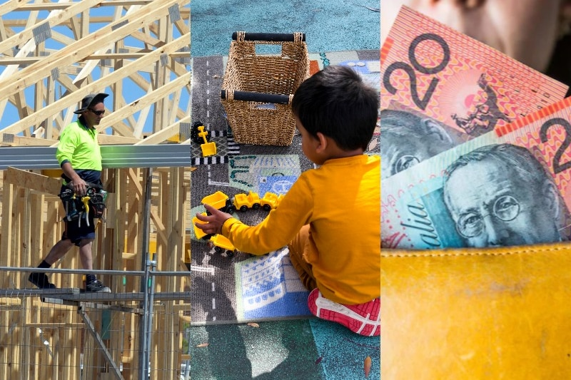 Man on construction site, child playing, cash