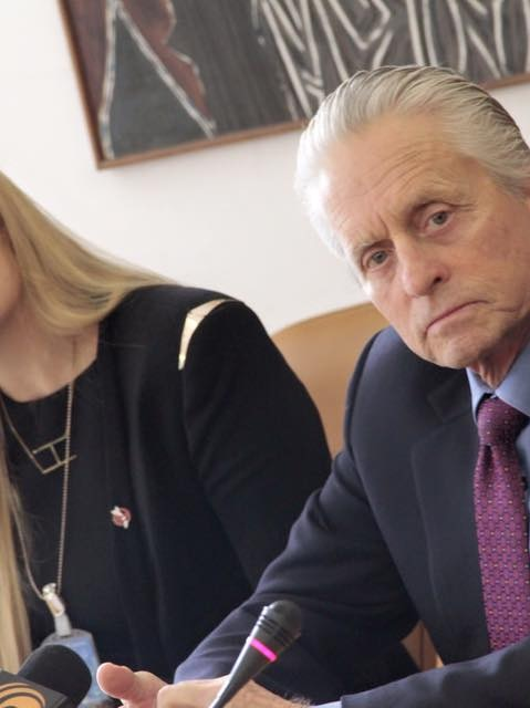 Actor Michael Douglas with ICAN's Beatrice Fihn.