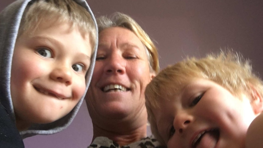 Adelaide mum Lisa Bridger with her sons Chase and Phoenix.