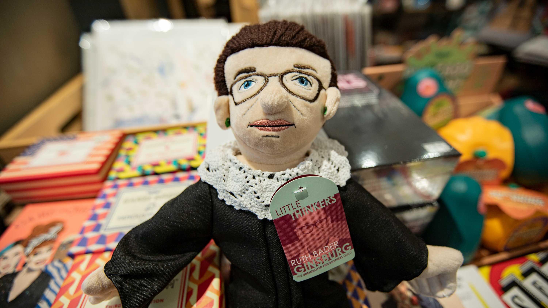 "RUTH BADER GINSBURG Little Thinker Big 12/"" Plush Doll Supreme Court Judge New"
