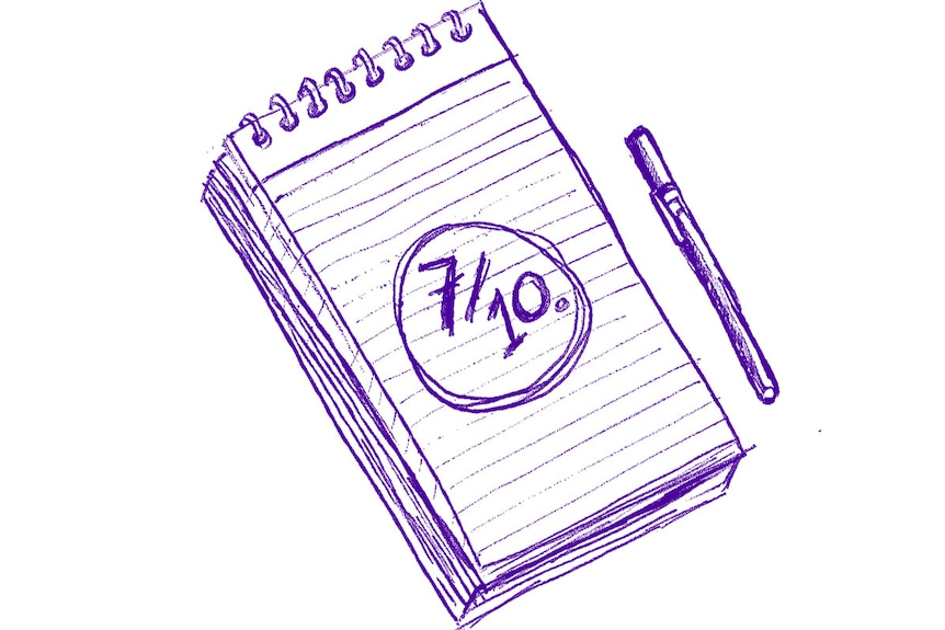 A blue-and-white illustration of a notepad with 7/10 written on it depicting mood monitoring, a self care technique.