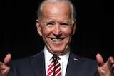 Former US Vice President Joe Biden smiling