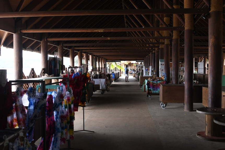 A handicrafts market in Vanuatu is shown mostly empty in this photograph taken in July 2020.