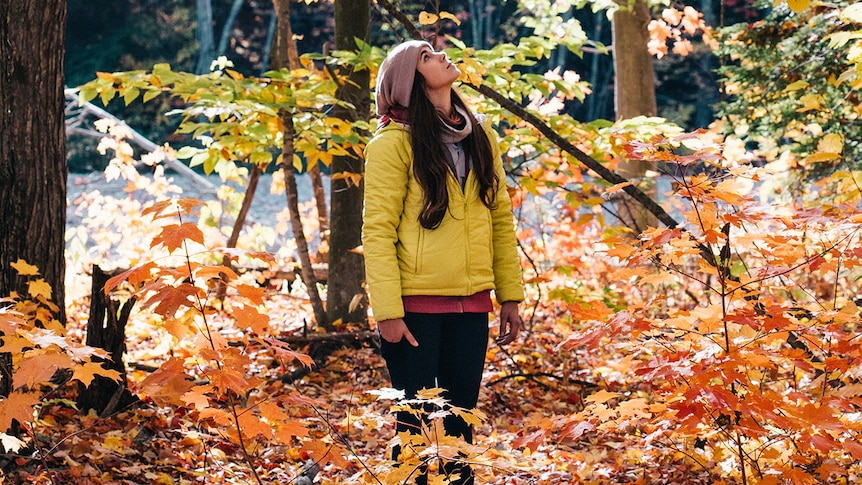 Woman surrounded by autumnal-coloured trees with leaves falling.