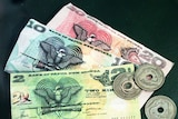 Banknotes and kina coins from Papua New Guinea
