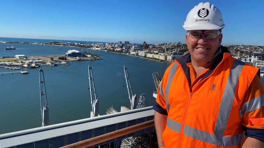 A man in a white hard hat and orange safety vest, stands on a high roof-top with Newcastle harbour in the background.