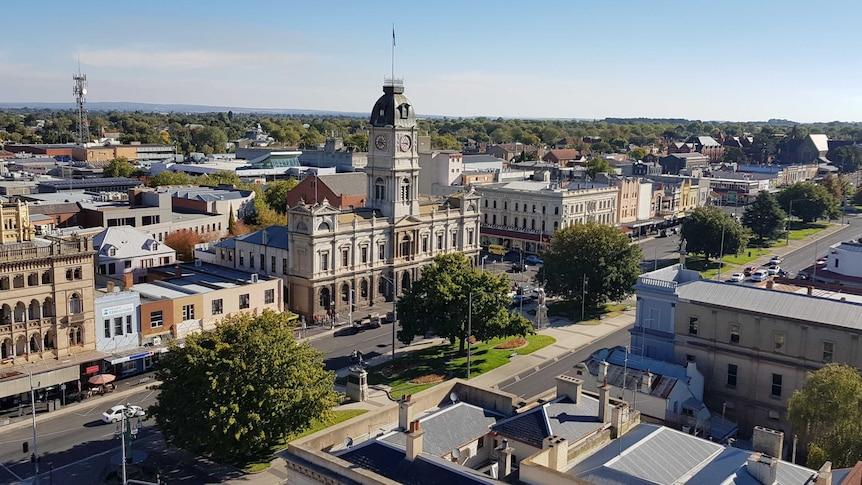 A high angle view of Ballarat's main street.